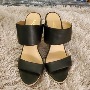 Cute black Charlotte Russe wedges size 10.